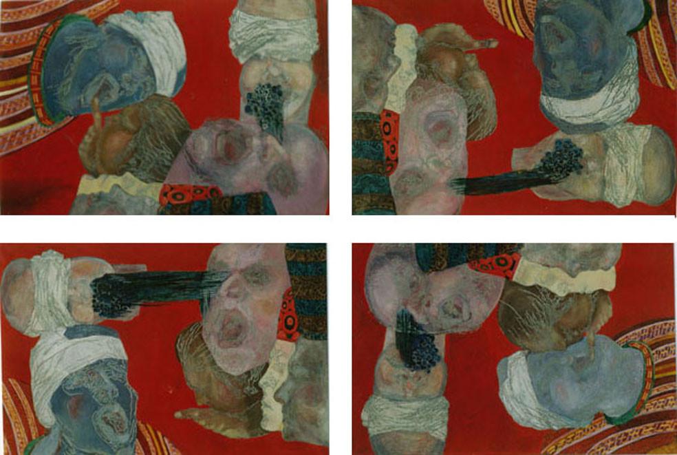 Rote-Quadrille Variation III/Tempera auf Leinwand/ 2000/01 je 1,40 x 1 m