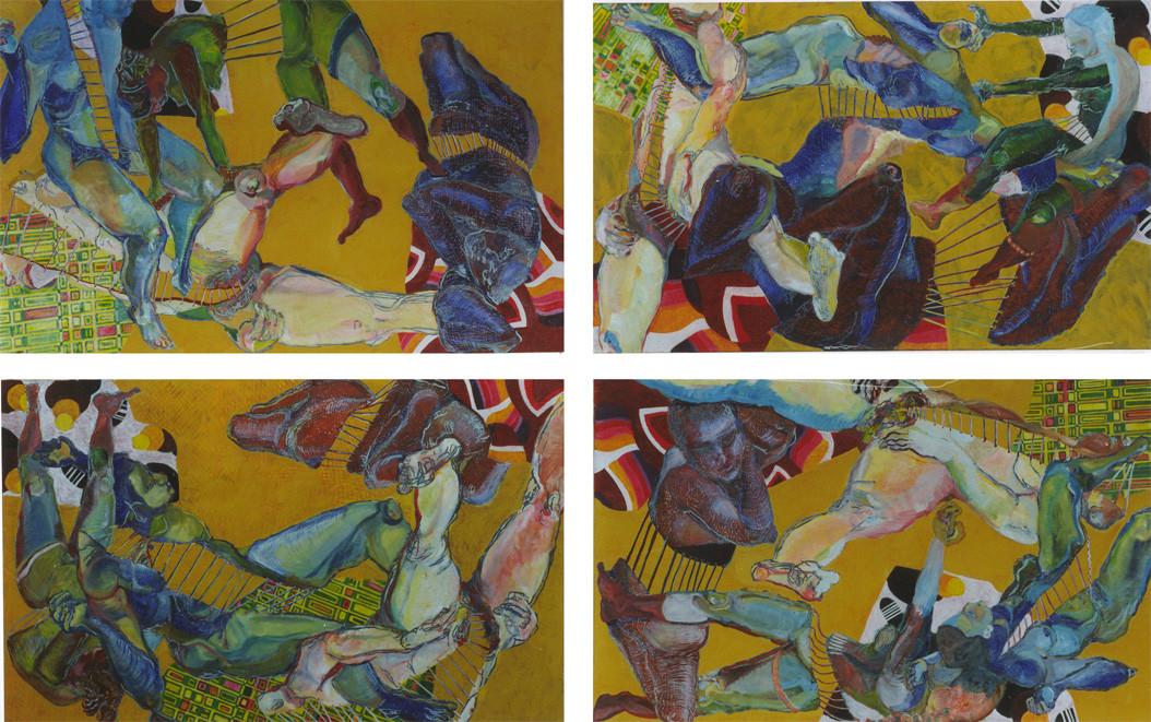 gelbe Quadrille/Variation I/Tempera auf Leinwand/ 2002/03 je 1,60 x 1 m