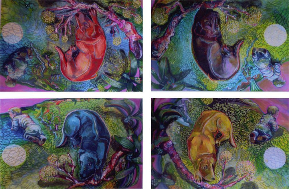 Hund-Quadrille Variation III/Tempera auf Leinwand 2013/14  je 1,40 x 100m