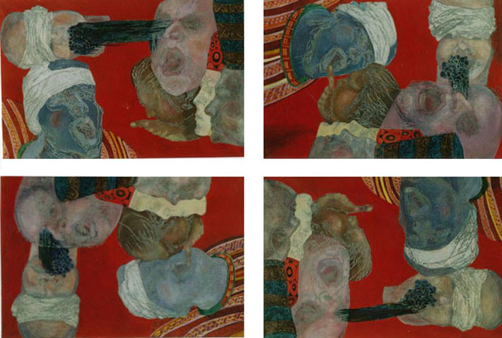 Rote-Quadrille Variation II/Tempera auf Leinwand/ 2000/01 je 1,40 x 1 m