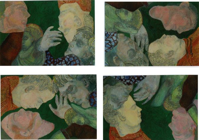 Grüne-Quadrille Variation III/Tempera auf Leinwand/ 2000/ je 1,40 x 1 m