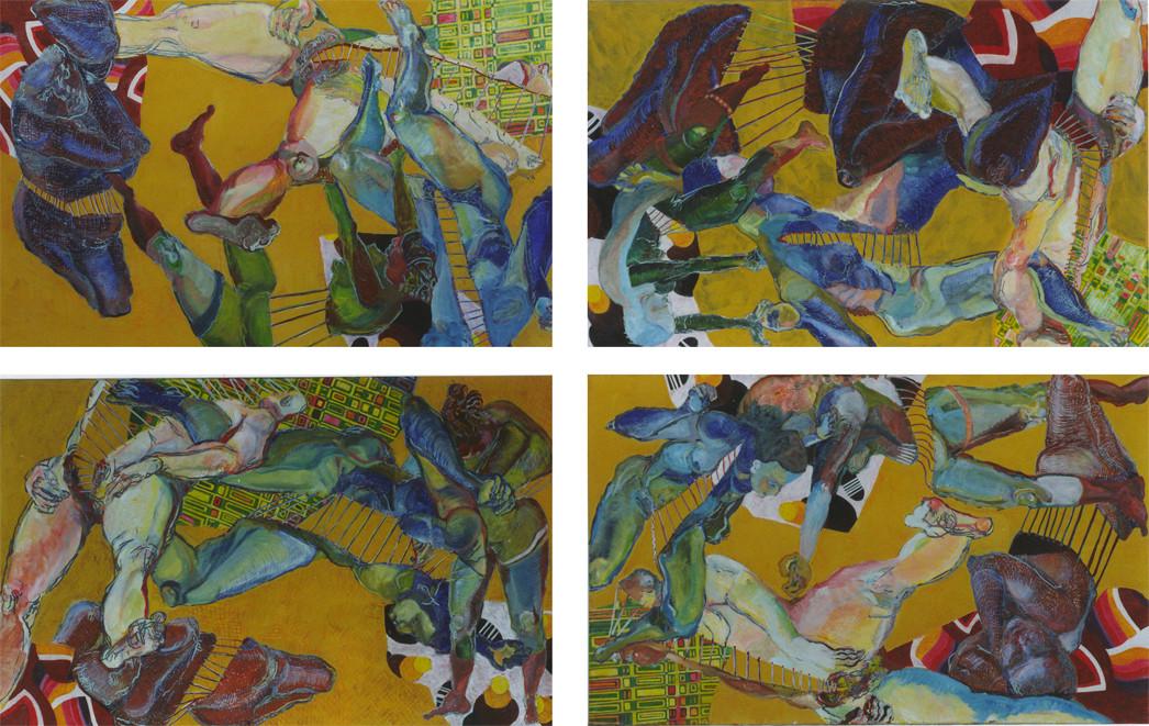 gelbe Quadrille/Variation I/Tempera auf Leinwand/ 2002/03 1,60 x 1 m