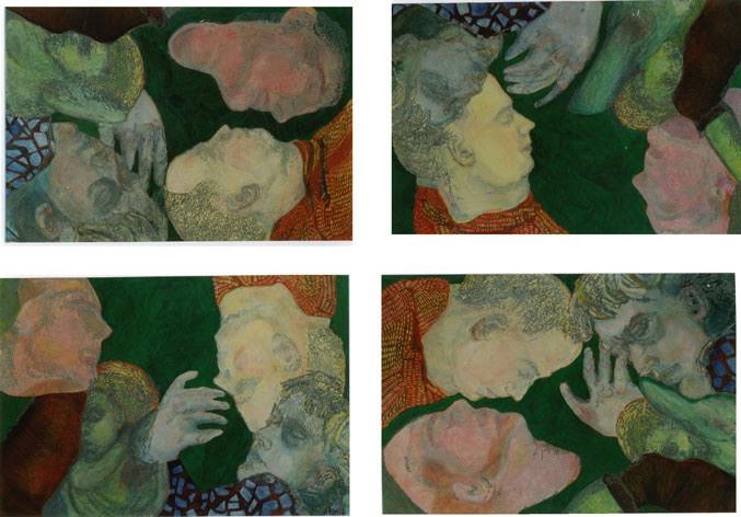 Grüne-Quadrille Variation I/Tempera auf Leinwand/ 2000/ je 1,40 x 1 m