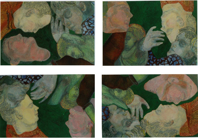 Grüne-Quadrille Variation II/Tempera auf Leinwand/ 2000/ je 1,40 x 1 m