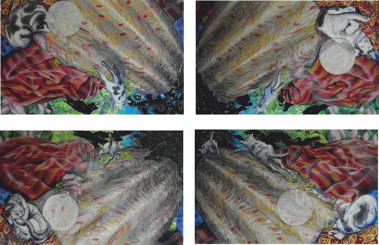 Ketzerchen-Quadrille Variation II/Tempera auf Leinwand/ 2010/11 je 1,60 x 100m/