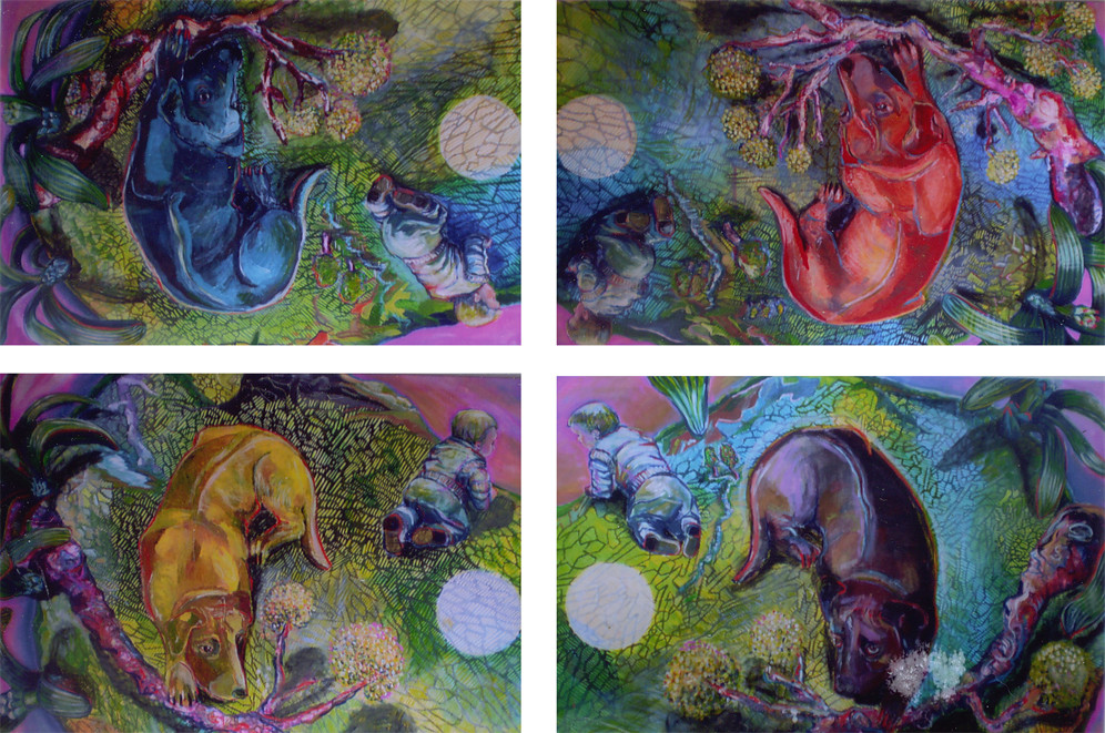 Hund-Quadrille Variation I/Tempera auf Leinwand 2013/14 je 1,40 x 100m/