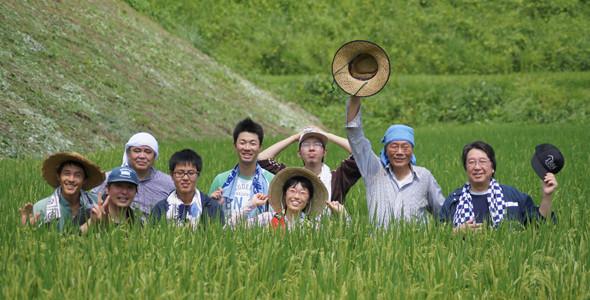 農業体験、田んぼの中
