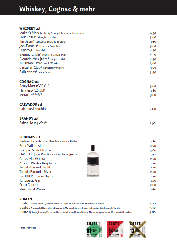 Whiskey+Cognac+mehr - Schwarzes Café Berlin