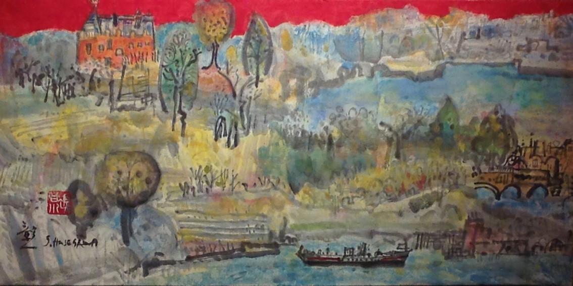 """"""" Rivage """" peinture japonaise - format  30 x 60 cm"""