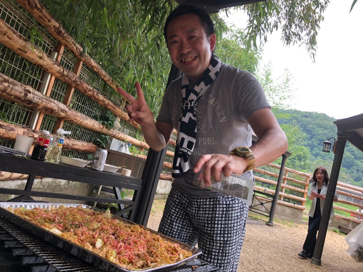 藤本さん、暑い中、お肉と焼きそば、ありがとう