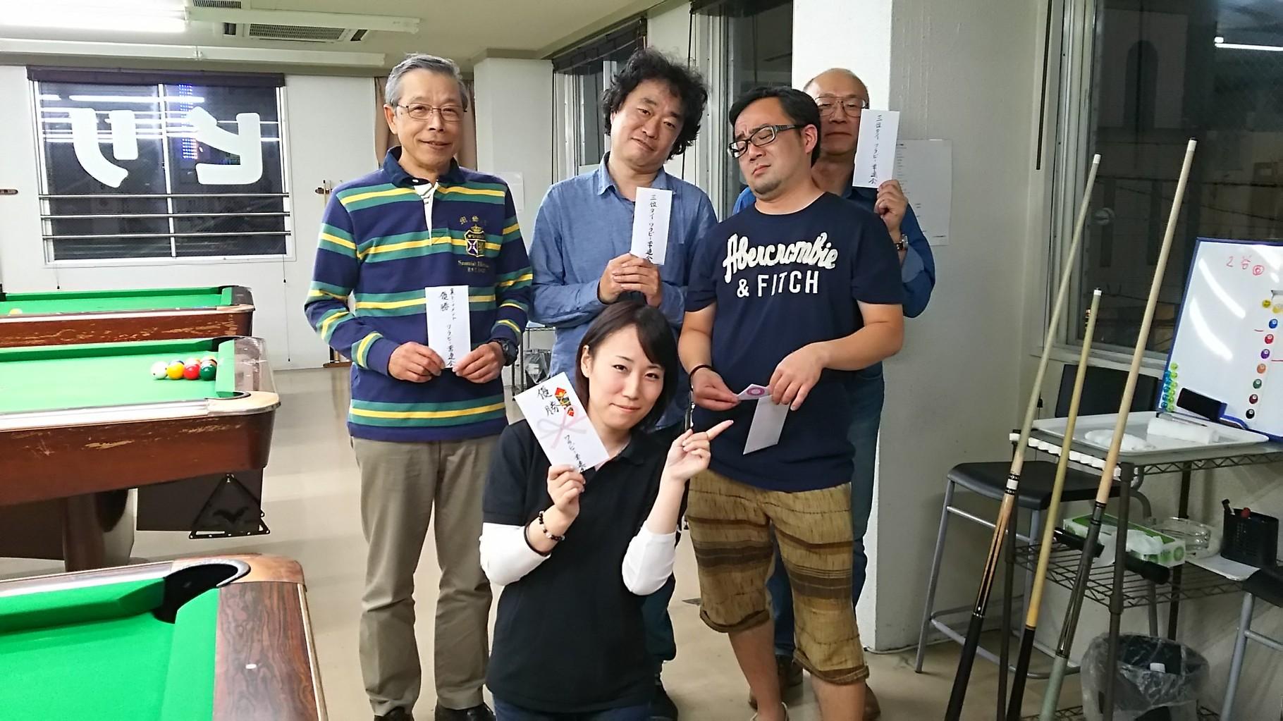 結果は、優勝りさちゃん・準優勝永藤君・3位タイ木根森さん、丹野さん・裏トーナメント優勝宮本さんでした。