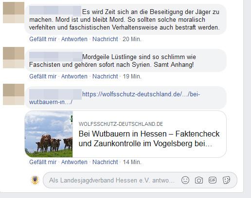 """Ein Beispiel von Hasskommentaren auf Facebook zu einem Beitrag zum Thema Wolf. Die strafrechtliche Beurteilung kann nach Übermittlung an die zentrale Meldestelle """"Hessen gegen Hetze"""" erfolgen und weiter verfolgt werden. Quelle: Screenshot Facebook (anonym"""