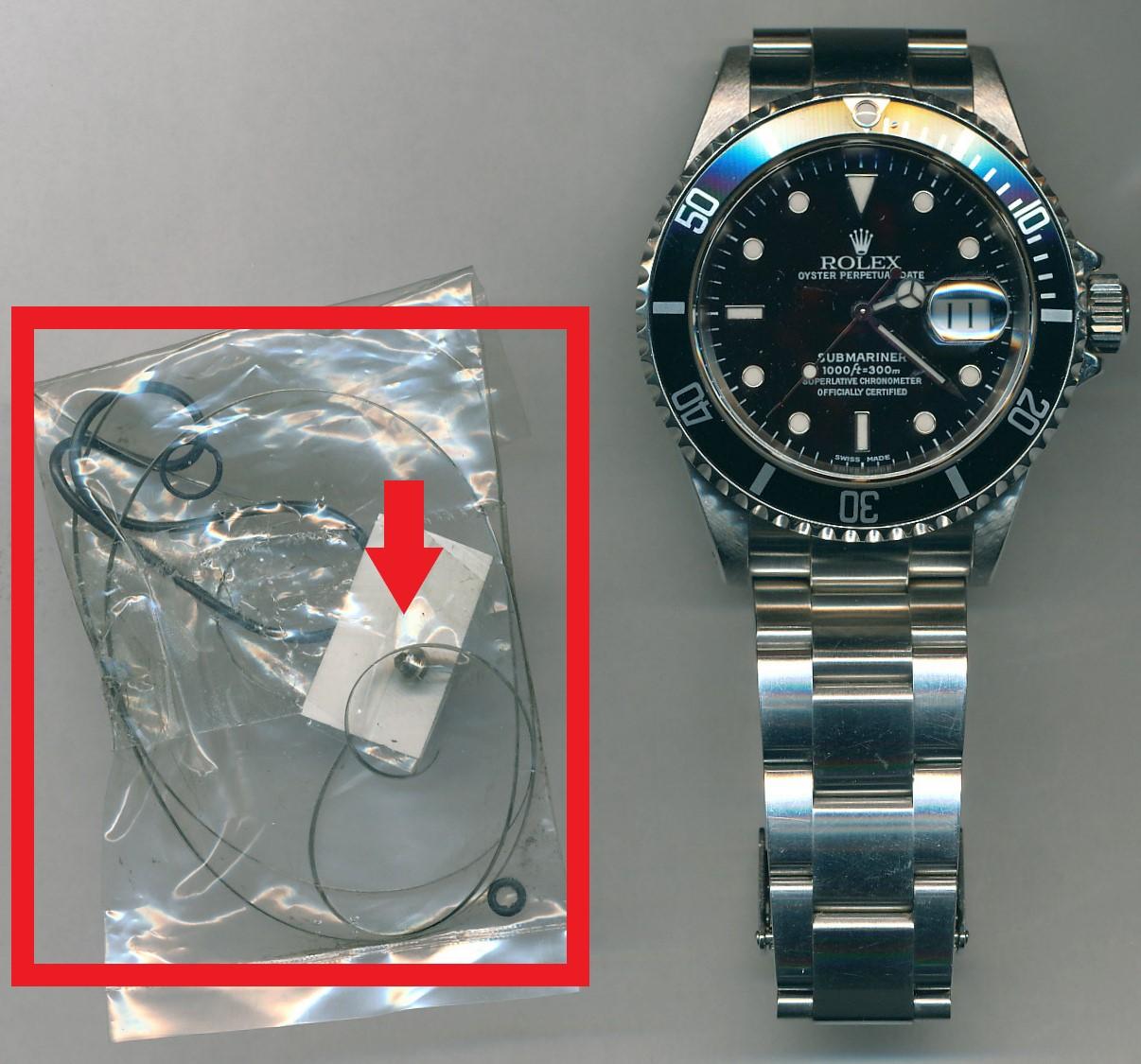 ロレックス(ROLEX)サブマリーナ(Rif.16610)のオーバーホール・ゼンマイ交換・香箱芯交換・パッキン交換を承らせて頂きました