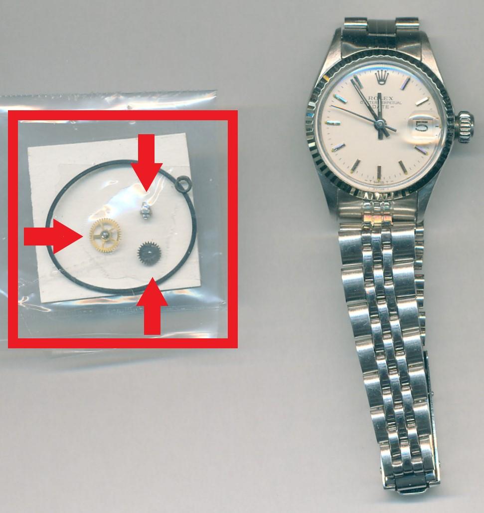 ロレックス(ROLEX) オイスターパーペチュアル (Ref.6517)のオーバーホール・パッキン交換・巻き上げ車交換・切り換え車交換・香箱芯交換