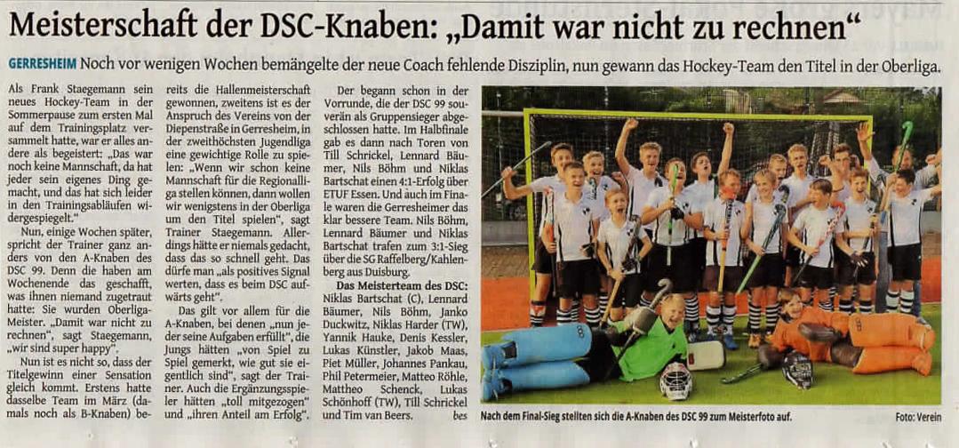 Die Westdeutsche Zeitung berichtet...