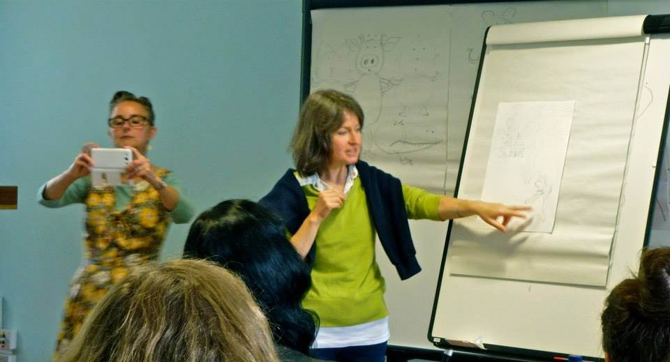 Attempting to explain what my story was all about after Lynne's great plot device workshop.