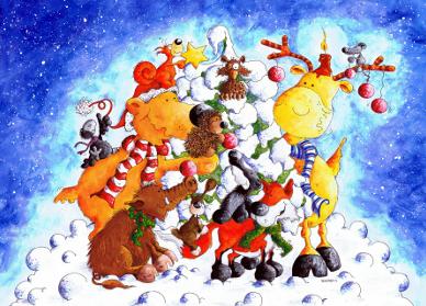 Waldtiere im Winter Poster