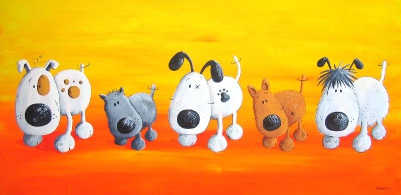 """""""Schnüffelnasen"""" - Hunde - Leinwand 80 x 40 cm - Preis: 330,00 Euro"""