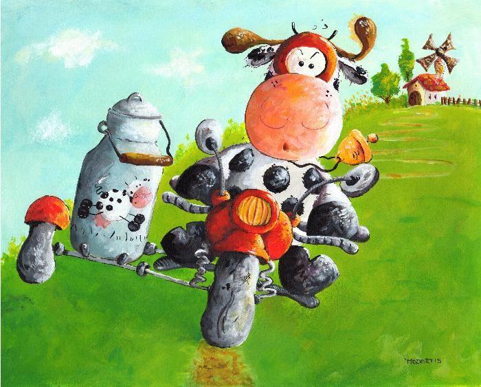 Milchexpress - Motorrad -Milchkuh Cartoon der anderen ART