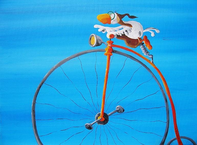 Easy Rider - Federtier - Vogelbild - Artwork- Kunstwerk- Leinwandbild- Vöglein- Fahrrad