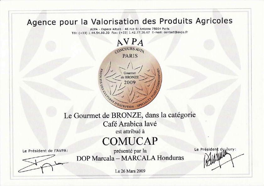 Auszeichung für COMUCAP, Herkunftskaffeewettbewerb, Paris, März 2009