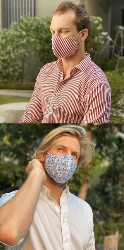 mueden.de, Maßhemd, Befeni-Maske, Bild von 2 Herren mit Passenden Masken zum Hemd