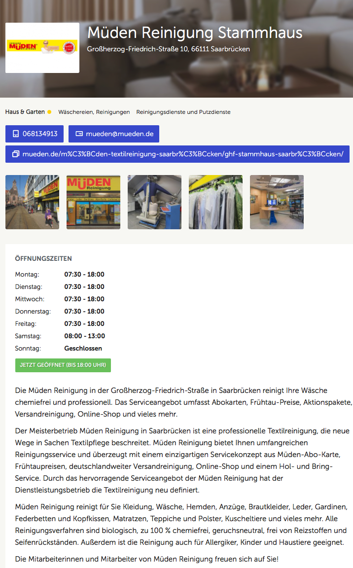 ALLESPROFIS, Bild Müden Reinigung Stammhaus