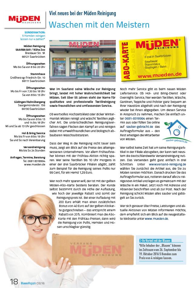 BLOG, Werbung Presse, Pressebericht Energie SaarLorLux, Waschen mit den Meistern, ganzseitiger Bericht