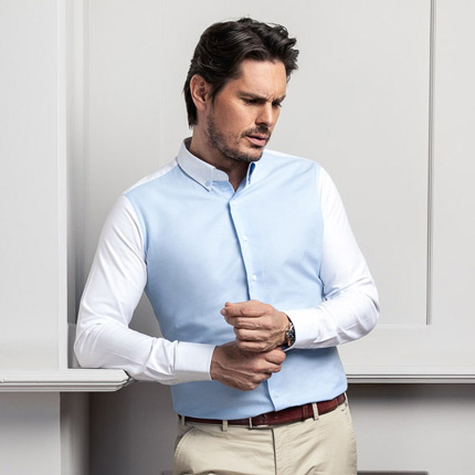 mueden.de, Masshemd, Bi-Color Hemd Modell easywhite_easysky
