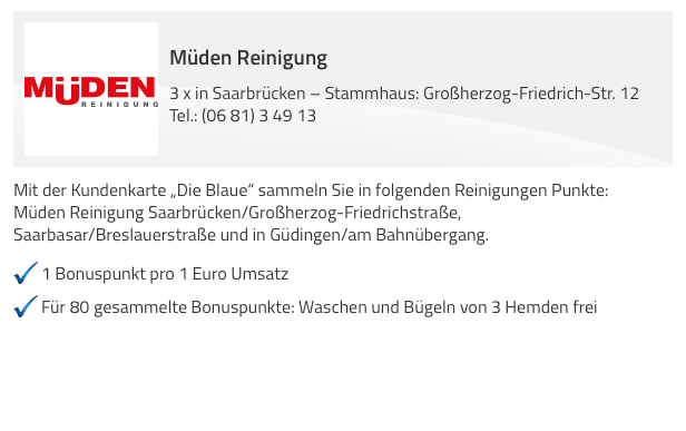 www.mueden.de, Die Blaue Kundenkarte, Müden 3 mal in Saarbrücken