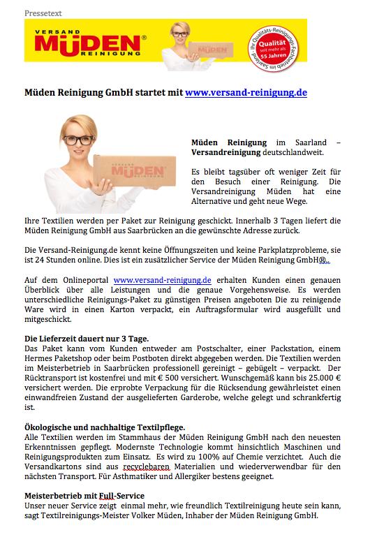 BLOG, Pressebericht Versand-reinigung.de