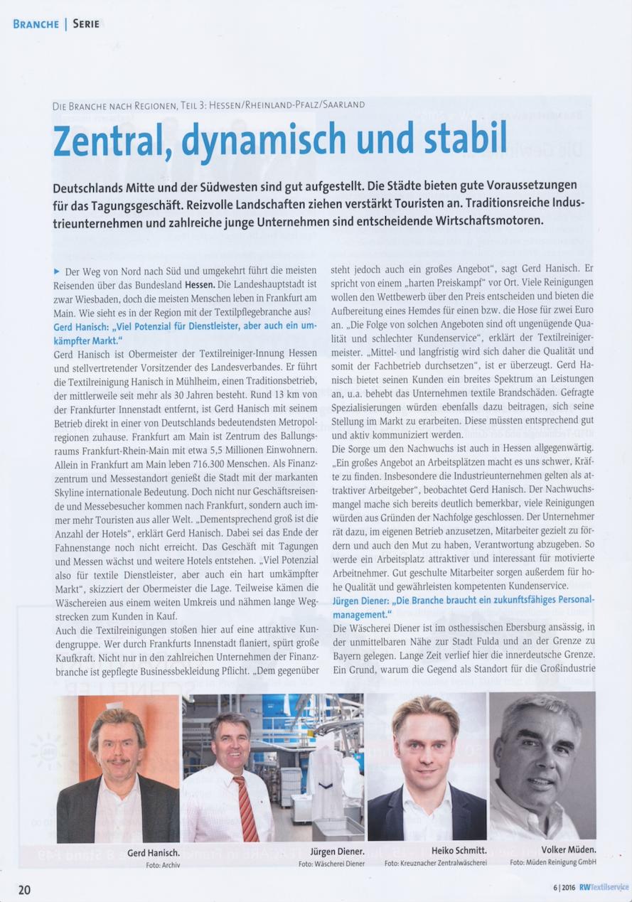 BLOG, Pressebericht RW-Textilservice Seite 1 mit Bild Volker Müden
