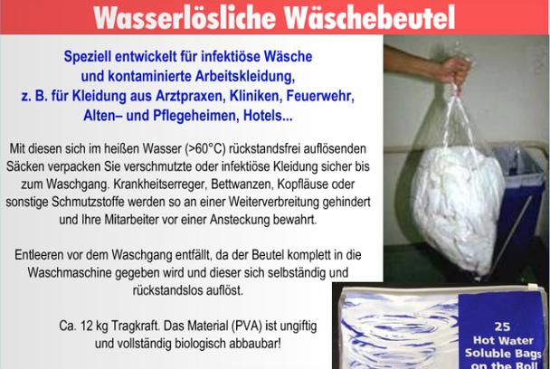 mueden.de, Lieferservice, Ärzte und Apotheken, Bild wasserlöslicher Wäschebeutel