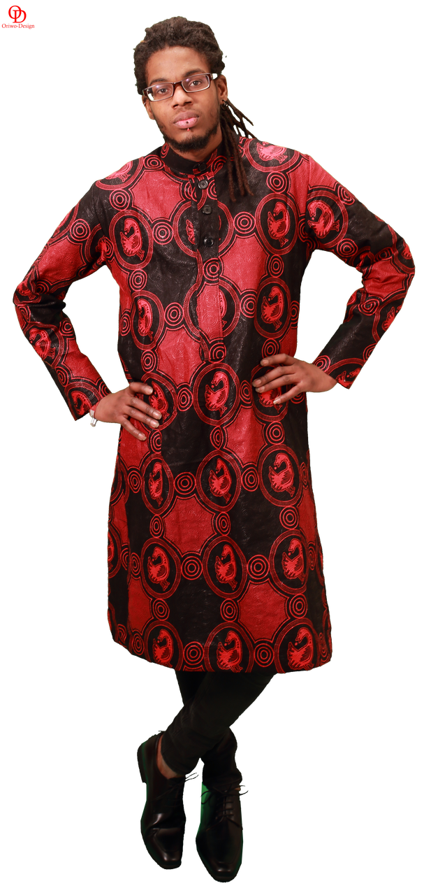 red black african print shirt mens kaftan