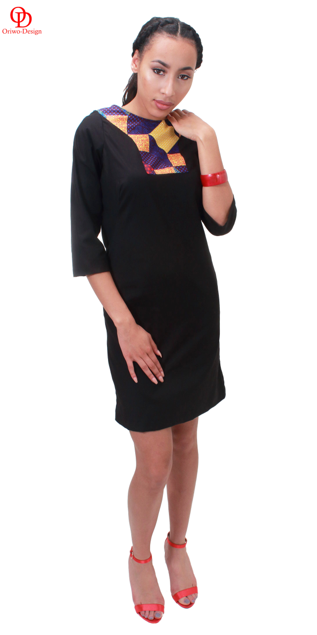 Black shift dress with ankara neck detail