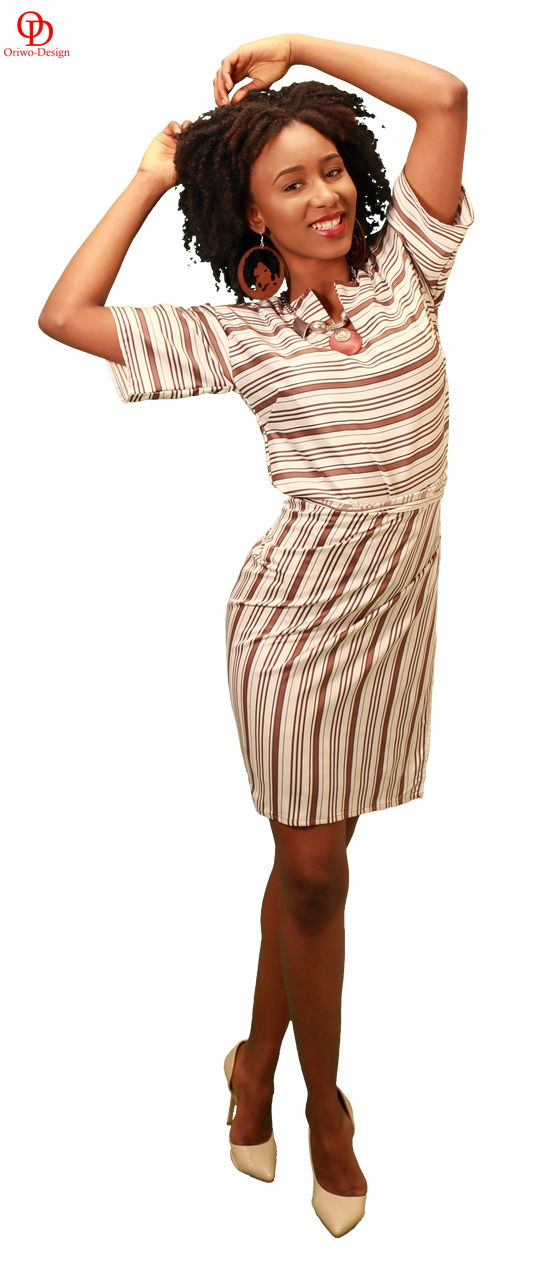 striped wrap skirt and top set