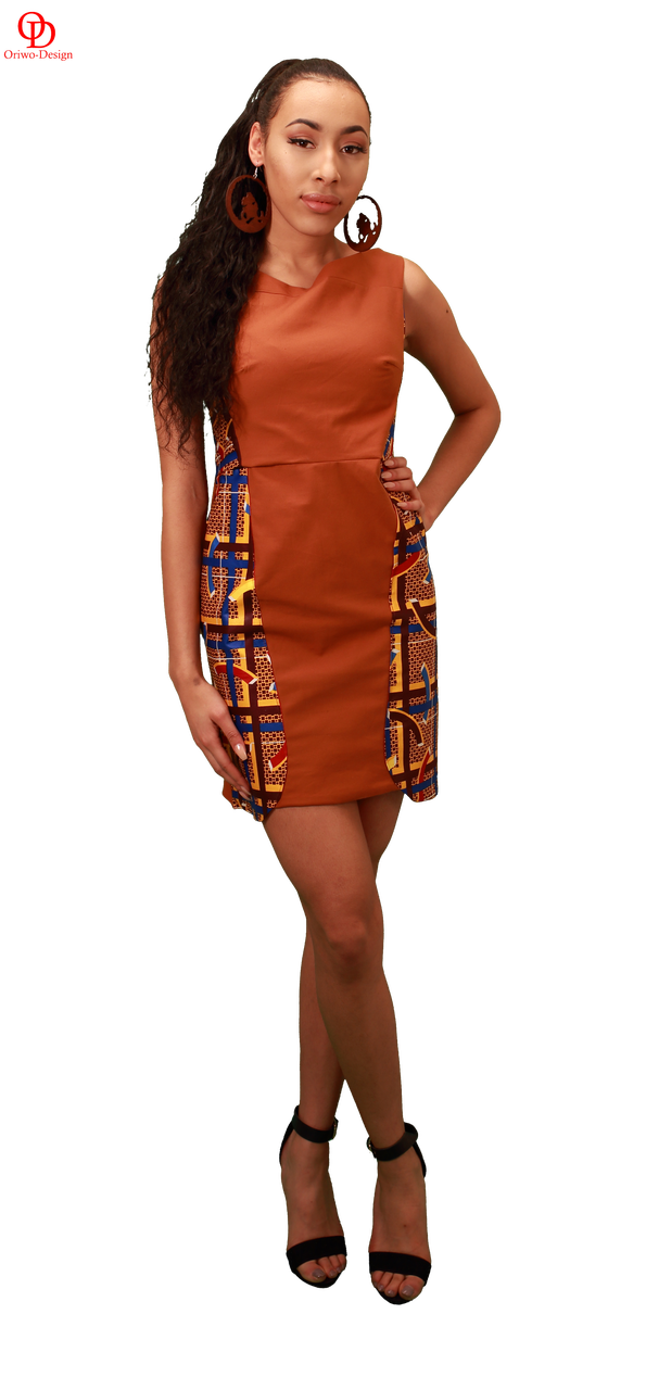 African print mix cocktail dress