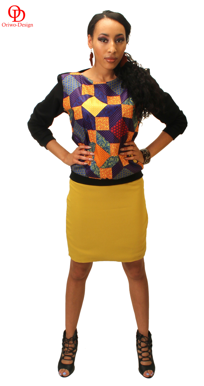 Ankara sweat shirt with pencil skirt