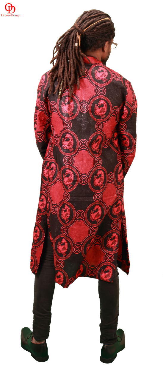 red black african print shirt mens kaftan