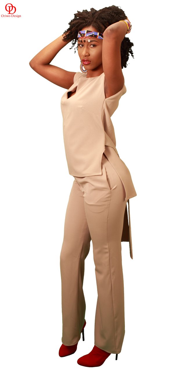 Beige Set of Wide leg pants and Top