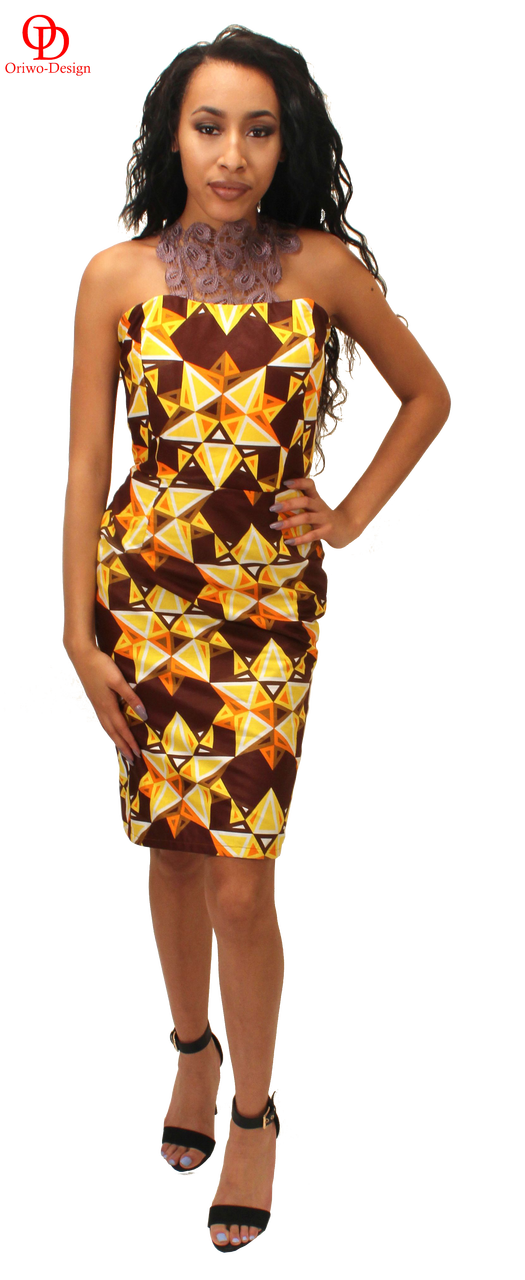 Ankara pencil dress with Guipure Lace neck detail