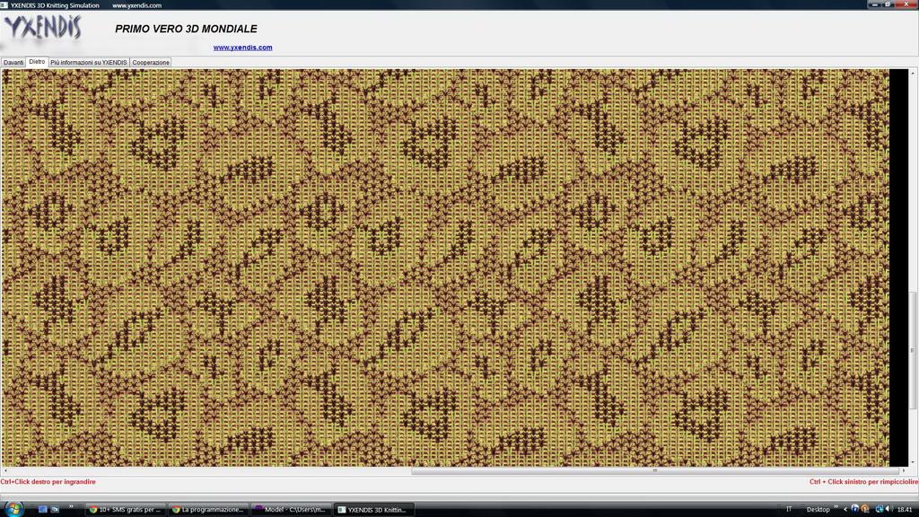 Esempio di simulazione delle sequenze di un  programma per un motivo leopardato jacquard 3 colori  parte interna.