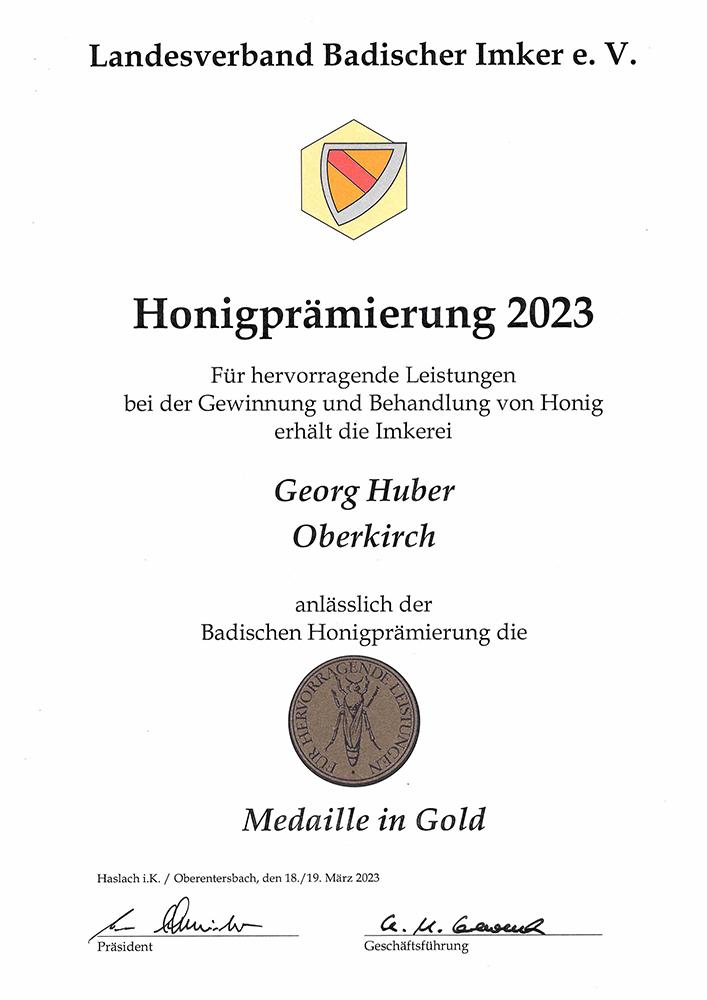 Goldmedaille Honigprämierung Landesverband Badischer Imker 2019