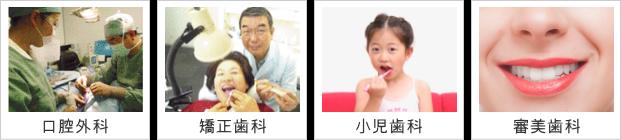 口腔外科、矯正歯科、小児歯科、審美歯科
