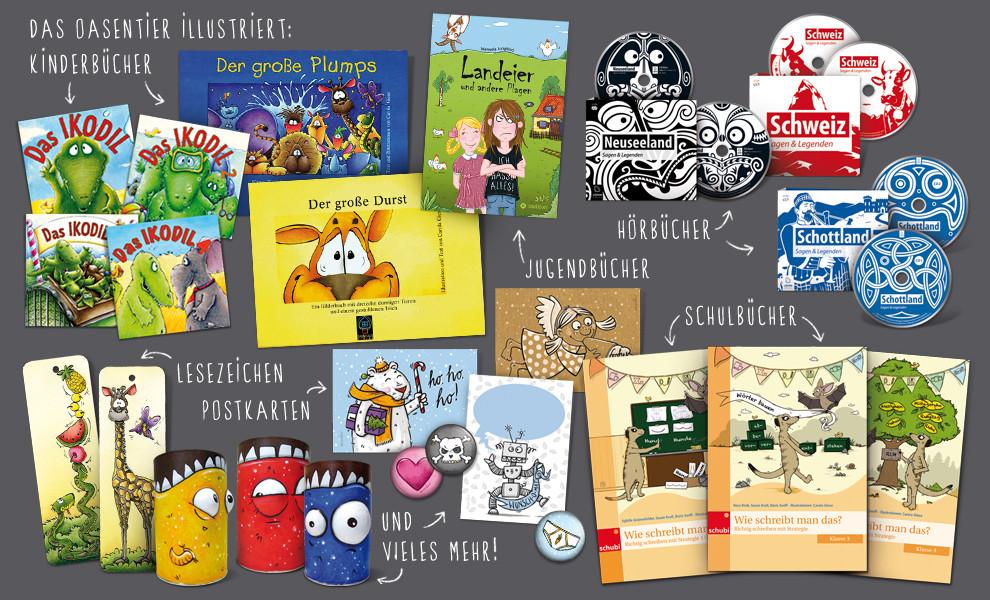 Bücher, Lesezeichen, Buttons, Postkarten, Dosenfreunde, etc.
