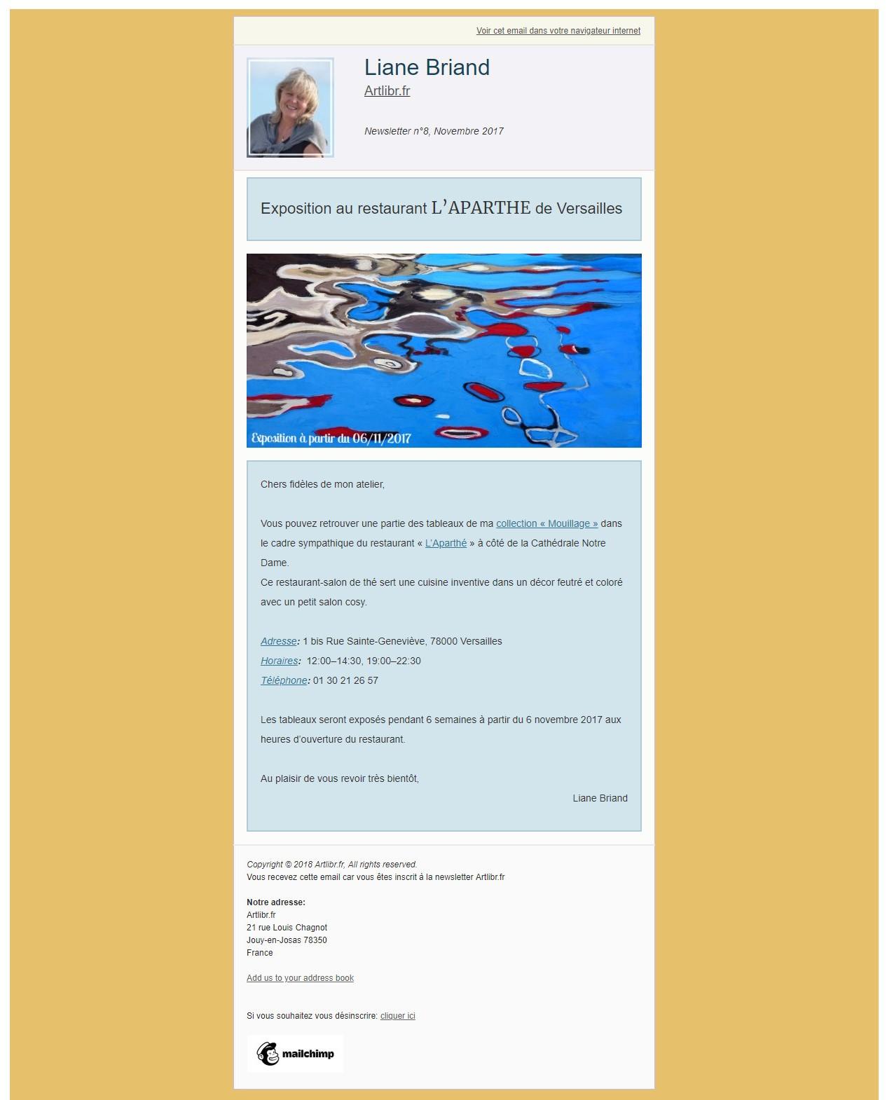 Newsletter N°8 Artlibr.Fr: Exposition Au Restaurant L'Aparthé À Versailles