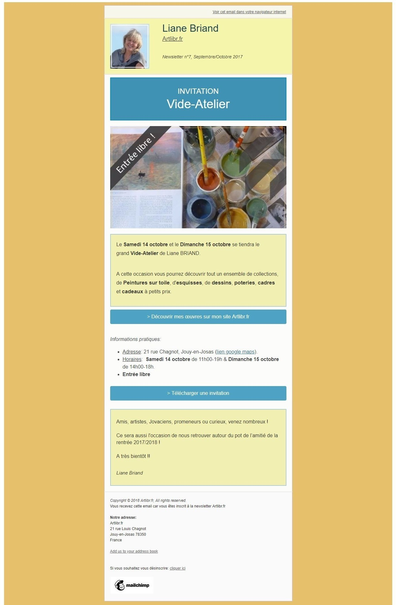 Newsletter N°7 Artlibr.Fr: Vide Atelier Chez Liane Briand!