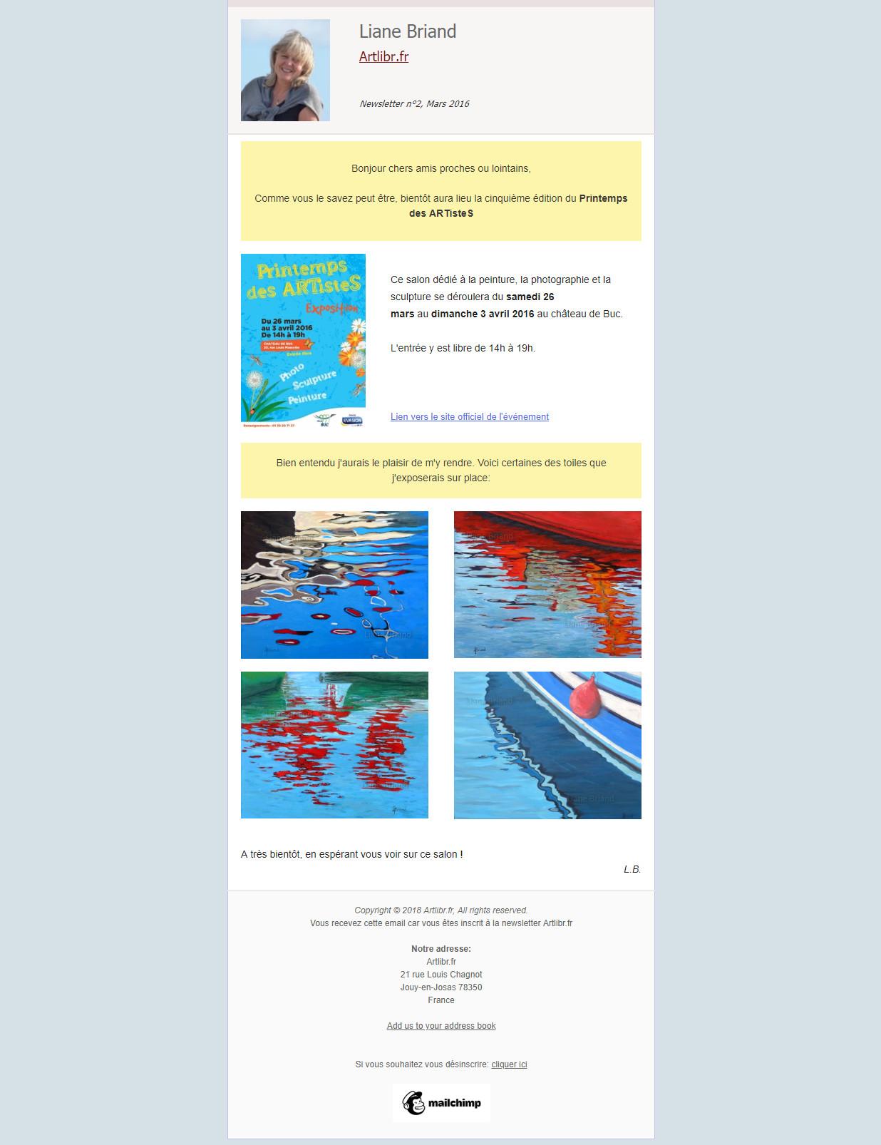 Newsletter N°2 Artlibr.Fr Mars 2016: la 5ème édition du Printemps des ARTisteS