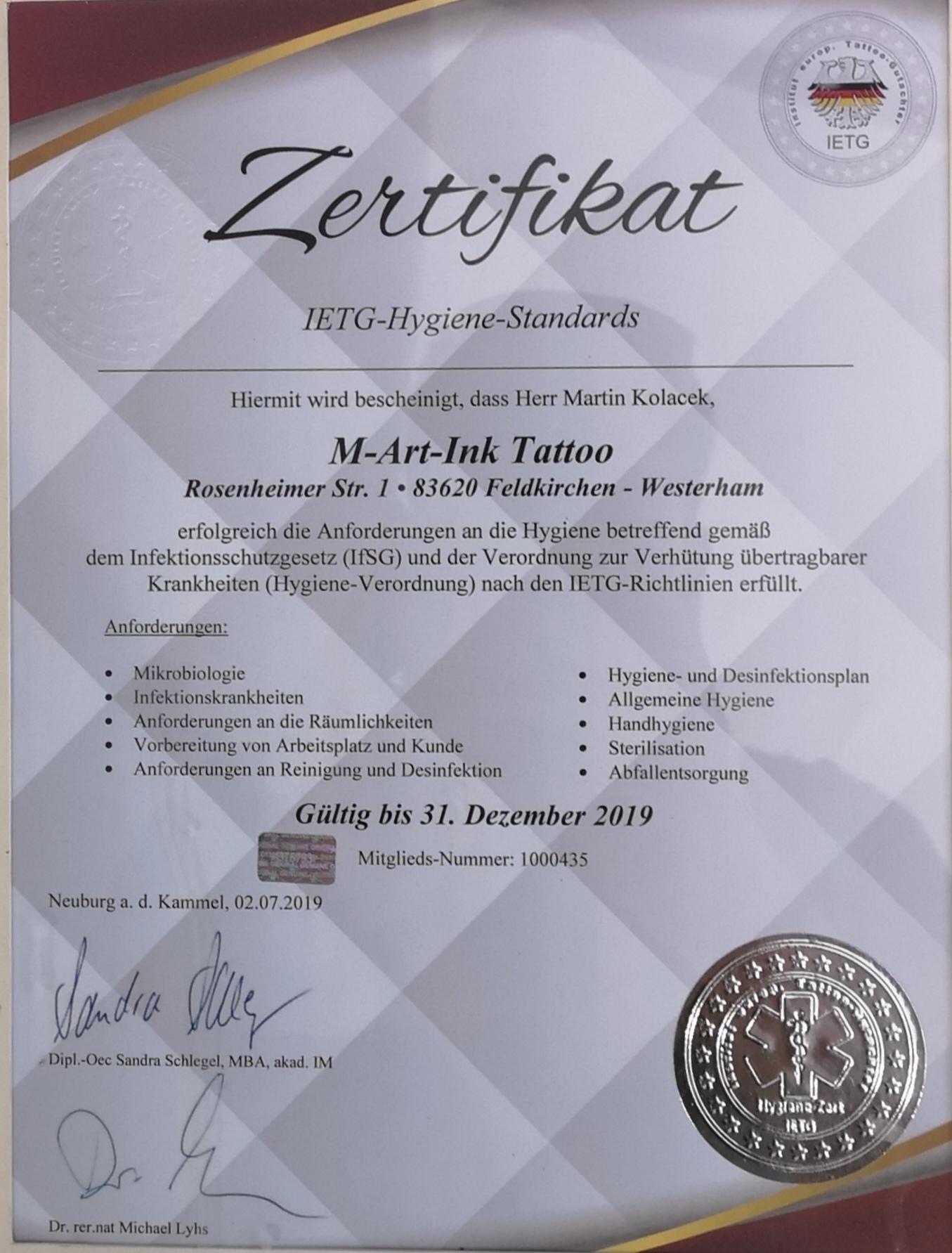 Wir freuen uns euch mitteilen zu dürfen das M-Art-Ink Tattoo Studio in Feldkirchen Westerham alle Hygiene Anforderungen erfüllt ✔️