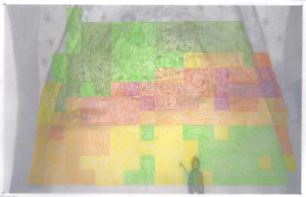 Kartierungsfoto Nordwand, Leitfähigkeitsmessung, grüne Bereiche sind trocken, gelbe zeigen mittlere Werte, rote Bereiche zeigen eine hohe Feuchtigkeit